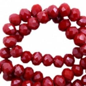 Facet glaskraal siam red-pearl shine coating 4x3mm