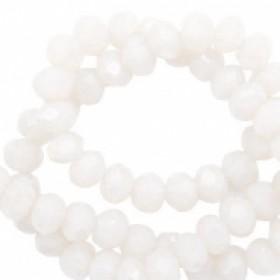 Facet glaskraal soft white-pearl shine coating 4x3mm