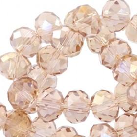 Facet glaskraal Vintage champagne rose (diamond coating) 6x4mm