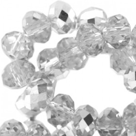Facetkraal jet labrador half crystal 6x4mm