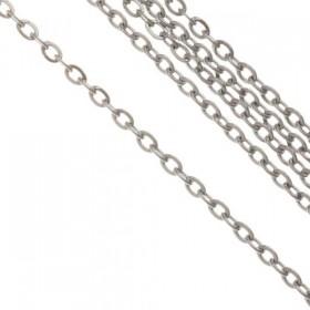 Fijne schakel ketting jasseron stainless steel 1,5mm zilver