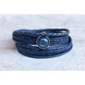 FRIS! Leren wrap Polaris armband blauw / zilver