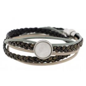 FRIS! Leren wrap Polaris armband taupe zilver