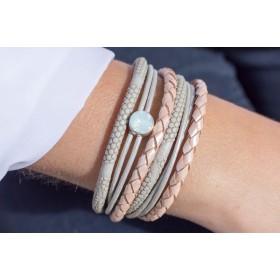FRIS! Swarovski wrap armband grijs vintage roze