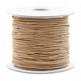 Gekleurd elastiek draad rond 0.8mm taupe brown 1 meter