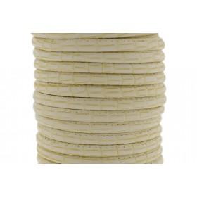 Gestikt DQ imitatie leer 4mm bamboe beige per 20cm