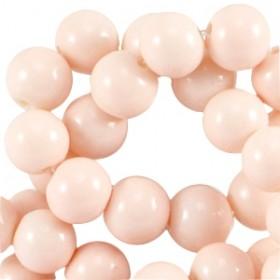 Glaskraal rond 6mm opaque light peach