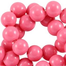 Glaskraal rond 6mm opaque magenta pink