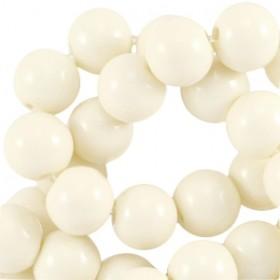 Glaskraal rond 6mm opaque silk beige