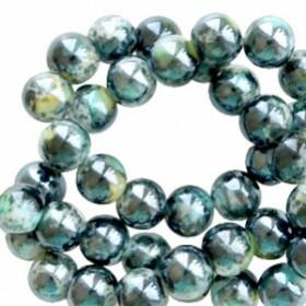 Glaskraal rond gemêleerd 6mm black turquoise