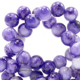 Glaskraal rond gêmeleerd 6mm gold line purple white