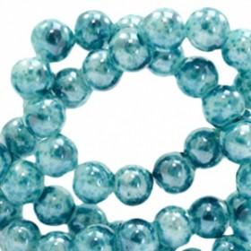Glaskraal rond gemêleerd 6mm ocean blue