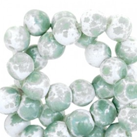 Glaskraal rond gemêleerd 6mm white pastel green