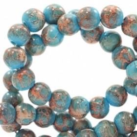 Glaskraal rond stone look 6mm blue rose brown