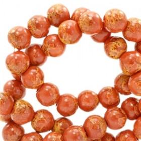 Glaskraal rond stone look 6mm red brown