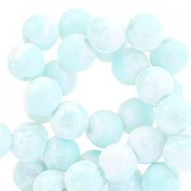 Glaskraal rond stone look 6mm white light blue