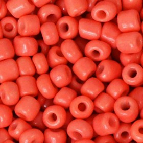 Glaskralen rocailles 6/0 4mm rond 8 gram neon coral orange
