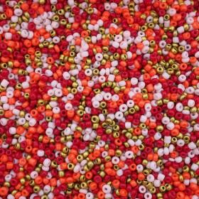 Glaskralen rocailles 8/0 3mm rond 8 gram mix red pink