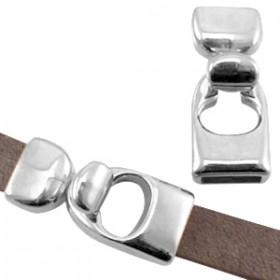 DQ haaksluiting voor 10mm leer zilver