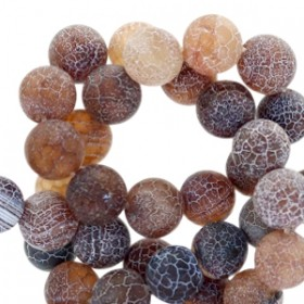 Half edelsteen kraal rond 8mm agaat dark brown topaz opal