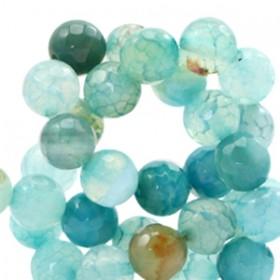 Half edelsteen kraal rond 8mm agaat facet geslepen light blue zircon opal