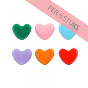 Hartjeskralen mixed color 10mm (per 6 stuks)