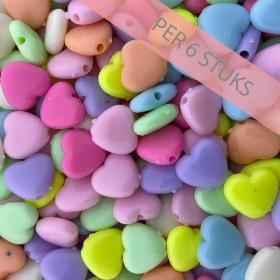 Hartjeskralen mixed color pastel 12mm (per 6 stuks)