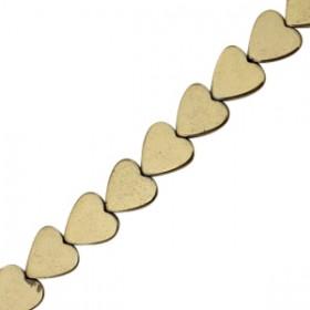 Hematite kraal hart 6mm antique gold