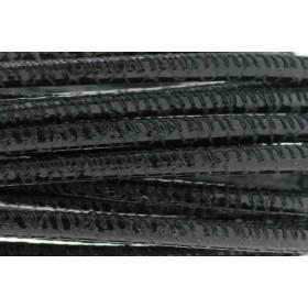 High Quality gestikt leer rond 4mm met print black python per 20cm