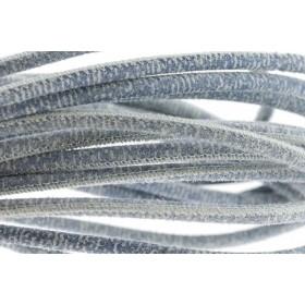 High Quality gestikt leer rond 4mm met print jeans per 20cm