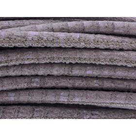 High Quality gestikt leer rond 4mm met print lizard beige 20cm