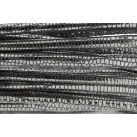 High Quality gestikt leer rond 4mm met print lizard dark silver per 20cm