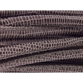 High Quality gestikt leer rond 4mm met print lizard taupe paillets 20cm