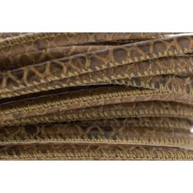High Quality gestikt leer rond 4mm met print python cognac per 20cm