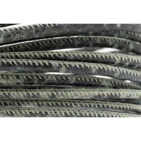 High Quality gestikt leer rond 4mm met print python green per 20cm