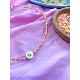 DIY pakket kralenketting candy mix rocailles met smiley bloem.