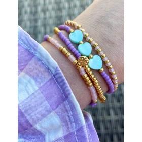 DIY pakket kralen armbandjes paars, roze en goud met turquoise hartjes