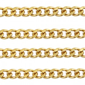 Jasseron gourmet schakel goud stainless steel ca. 7x5mm
