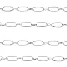 Jasseron stainless steel schakel 10x4mm zilver per 20cm