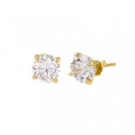 Karma zirconia earstuds 2-3-4-5-6-7MM 925 sterling zilver goldplated (per paar)
