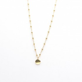 Karma dots ketting disc 925 sterling zilver goldplated 50-57cm