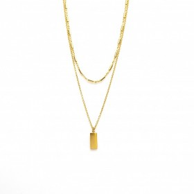 Karma dubbele ketting tubes rectangle 925 sterling zilver goldplated