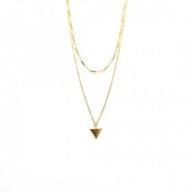 Karma dubbele ketting tubes triangle 925 sterling zilver goldplated