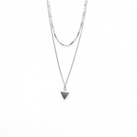 Karma dubbele ketting tubes triangle 925 sterling zilver