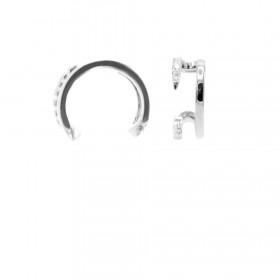 Karma earcuff open double zirconia 925 Sterling Silver (1piece)