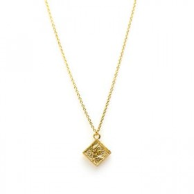 Karma ketting coin square 925 sterling zilver goldplated 38-45cm