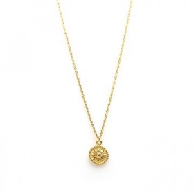 Karma ketting coin sun 925 sterling zilver goldplated 38-45cm