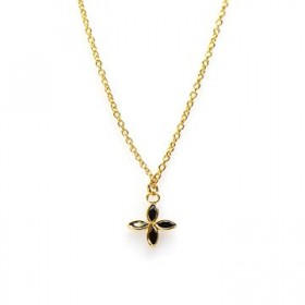 Karma ketting flower zirconia black 925 sterling zilver goldplated 38-45cm