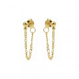 Karma oorbellen chain figaro double dot goud
