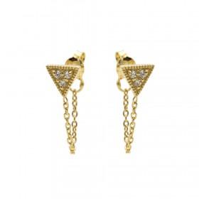 Karma oorbellen chain triple triangle zirconia goud